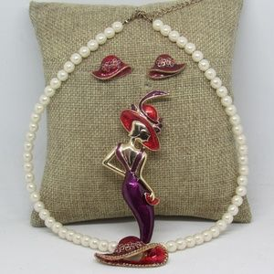 Vintage Red Hat Society Enamel Jewelry Sets